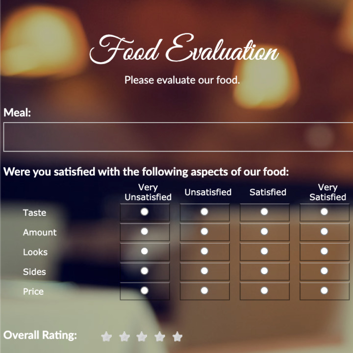 Restaurant Evaluation Form Template