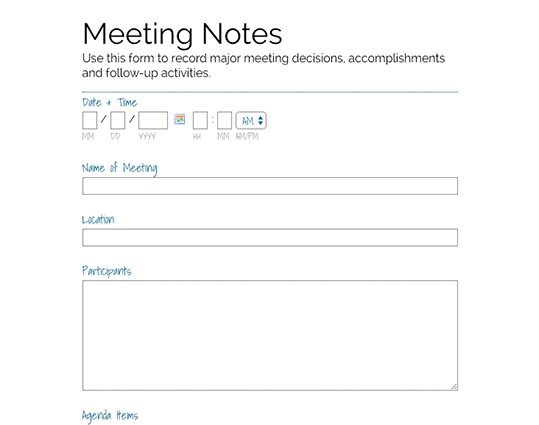 Meeting Notes Form. PreviewUse Template  Meeting Feedback Form Template