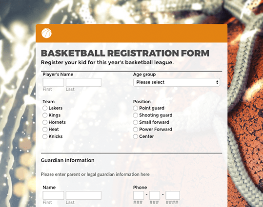 Basketball Registration Form. PreviewUse Template  Customer Registration Form Sample
