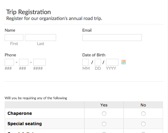subscription form templates