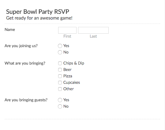 Super Bowl Party RSVP Template  Party Rsvp Template