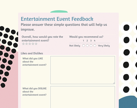 Event Feedback Form. PreviewUse Template  Feedback Forms Template