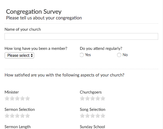 Congregation Survey. PreviewUse Template