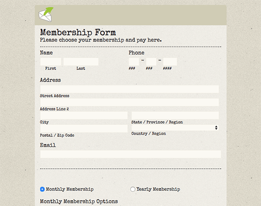 Free Online Form and Survey Templates EmailMeForm – Membership Forms Templates