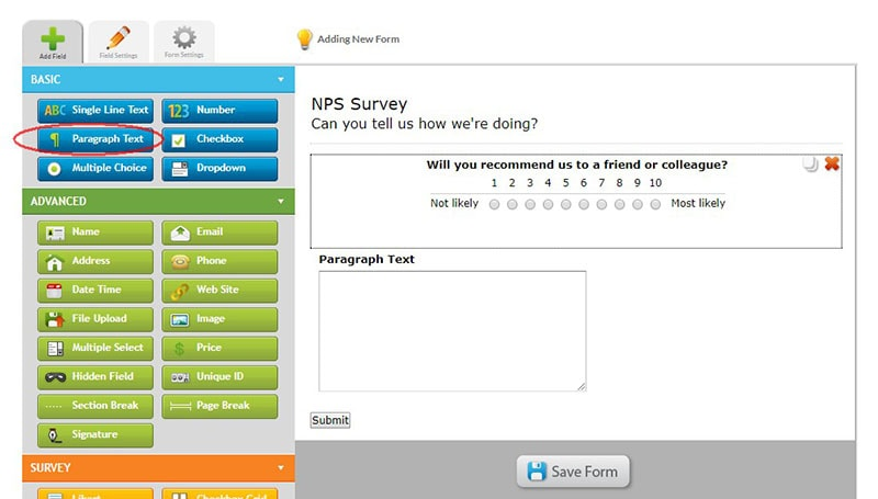 how to create a net promoter score nps survey emailmeform